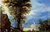 Jan the elder Brueghel A Village Street With The Holy Family Arriving At An Inn [detail 1] painting